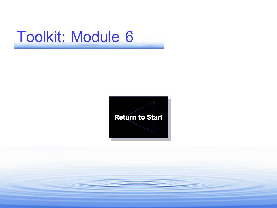 Toolkit: Module 6 Return to Start