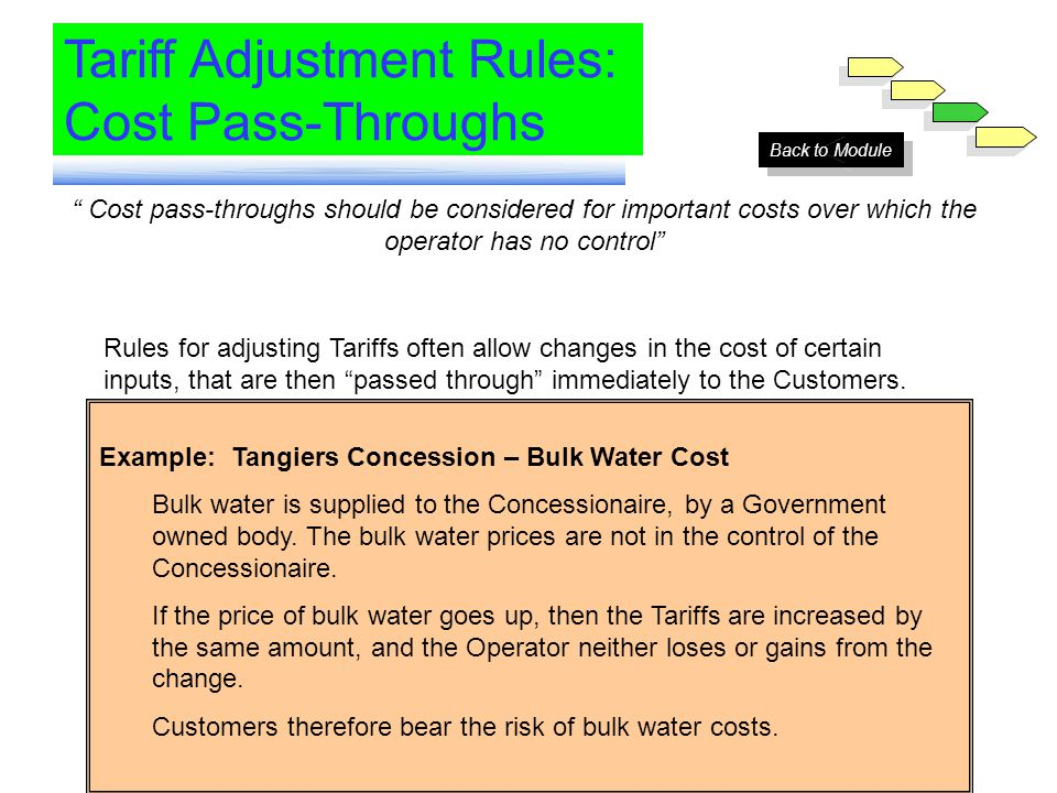 Module 6 Tariff Adjustment Rules: Cost Pass-Throughs Cost pass-throughs should be considered for important costs over which the operator has no contro