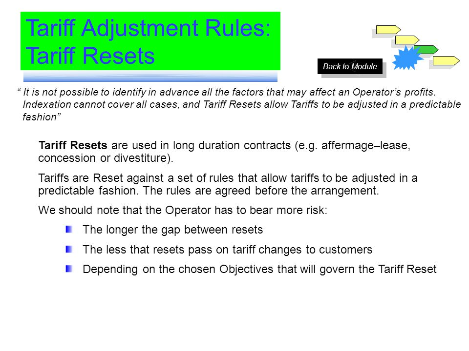 Module 6 Tariff Adjustment Rules: Tariff Resets It is not possible to identify in advance all the factors that may affect an Operators profits. Indexa