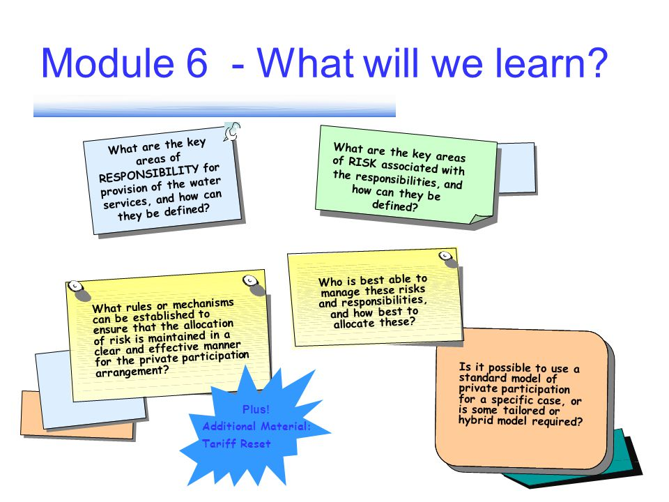 Module 6 - What will we learn? What are the key areas of RESPONSIBILITY for provision of the water services, and how can they be defined? Is it possib