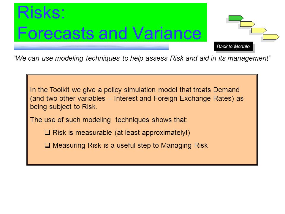 We can use modeling techniques to help assess Risk and aid in its management In the Toolkit we give a policy simulation model that treats Demand (and