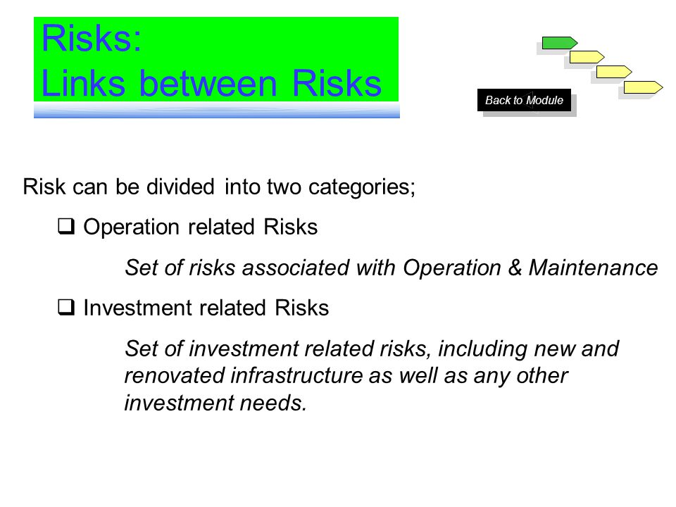 Many risks affect the water sector One risk is often a bundle of other more specific risks Risks are interrelated Risks: Links between Risks Currency Risk Renewals Exchange Rates Interest Rates Permitting & Consents Cash Collected RegulationTariffs RevenueDemand EconomyNon Payment Labor Relations Existing Assets Environment Site Conditions Currency Convertibility Labor Costs Labor Force Wages Input Prices Operating Costs Maintenance Cash Spent Cashflow New Investment Financing costs Political Environment Risk can be divided into two categories; Operation related Risks Set of risks associated with Operation & Maintenance Investment related Risks Set of investment related risks, including new and renovated infrastructure as well as any other investment needs.