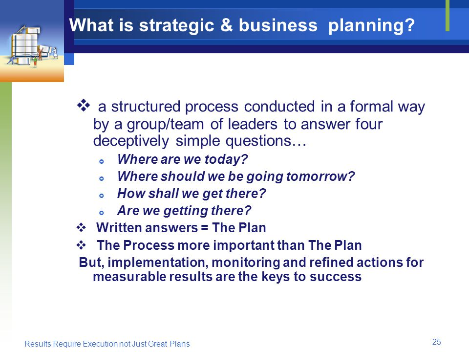 Results Require Execution not Just Great Plans 25 What is strategic & business planning.