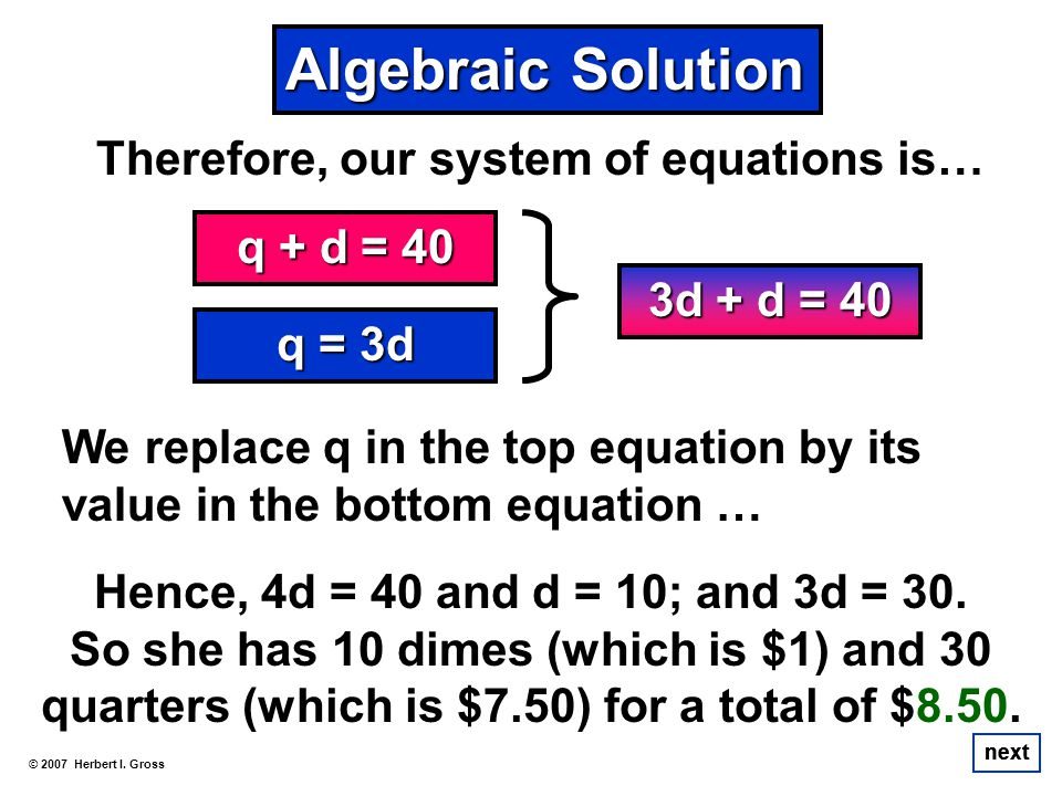 Therefore, our system of equations is… © 2007 Herbert I. Gross next We replace q in the top equation by its value in the bottom equation … q + d = 40