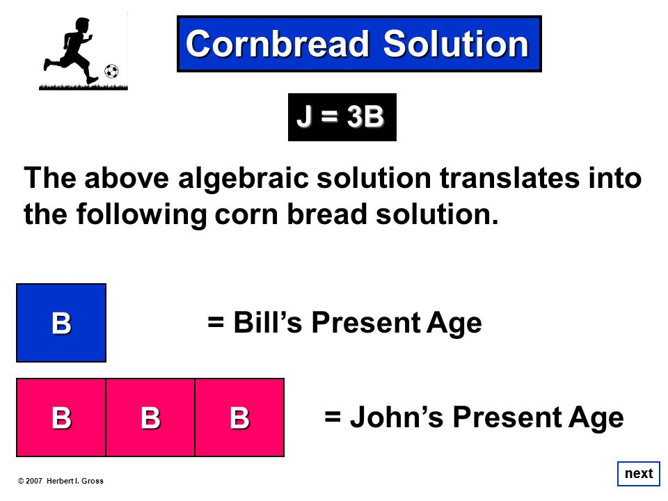 The above algebraic solution translates into the following corn bread solution. © 2007 Herbert I. Gross next Cornbread Solution next B B = Bills Prese