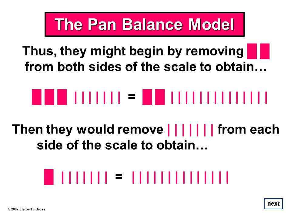 | | | | | | | = The Pan Balance Model © 2007 Herbert I. Gross next Thus, they might begin by removing from both sides of the scale to obtain… | | | |