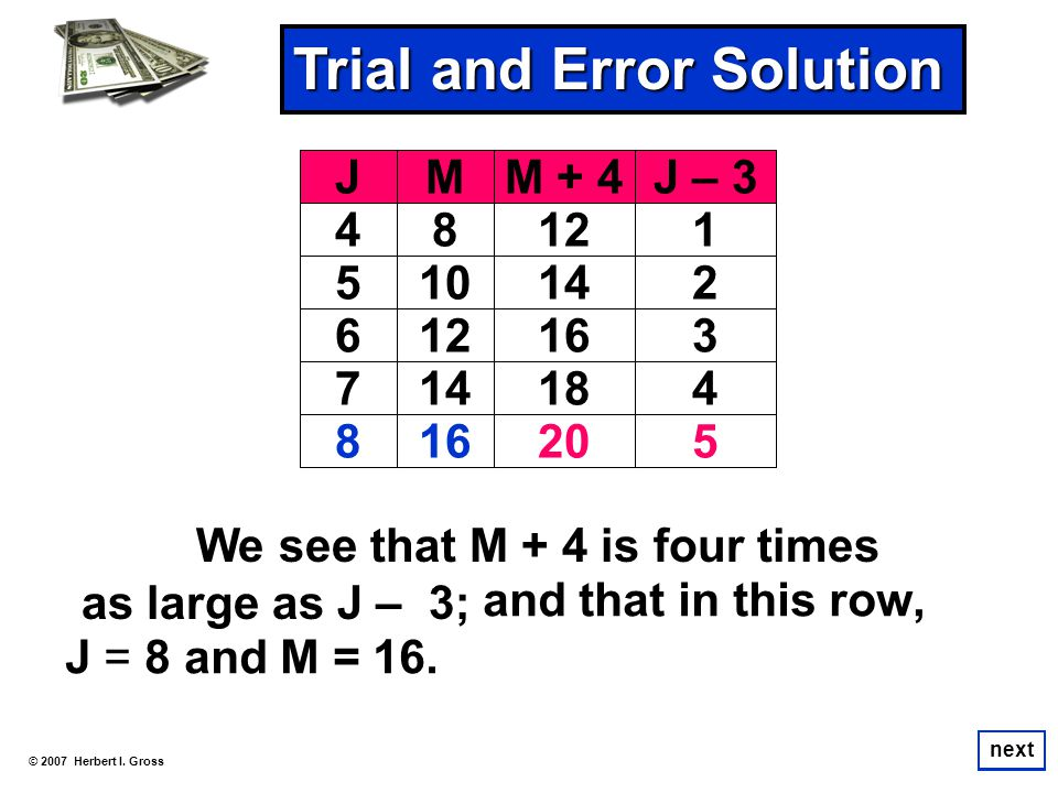 We see that M + 4 is four times as large as J – 3; © 2007 Herbert I. Gross next Trial and Error Solution next JMM + 4J – 3 48121 510142 612163 714184