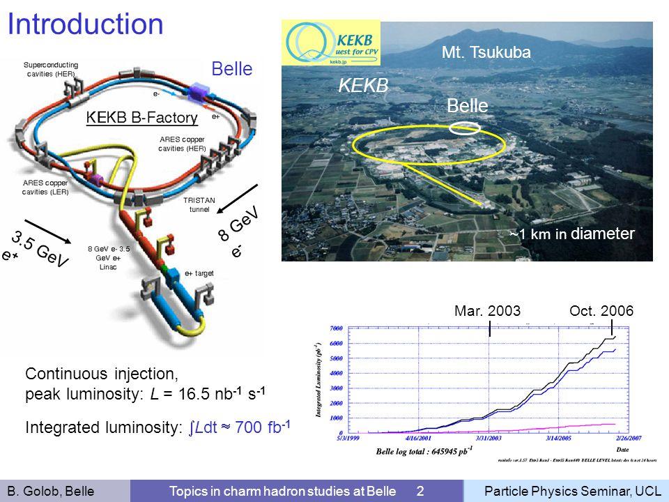 3.5 GeV e + 8 GeV e - Belle Continuous injection, peak luminosity: L = 16.5 nb -1 s -1 Integrated luminosity: Ldt 700 fb -1 ~1 km in diameter Mt. Tsuk
