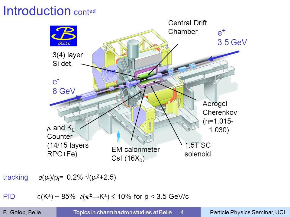 3(4) layer Si det. Central Drift Chamber Aerogel Cherenkov (n=1.015- 1.030) 1.5T SC solenoid e - 8 GeV e + 3.5 GeV EM calorimeter CsI (16X 0 ) and K L