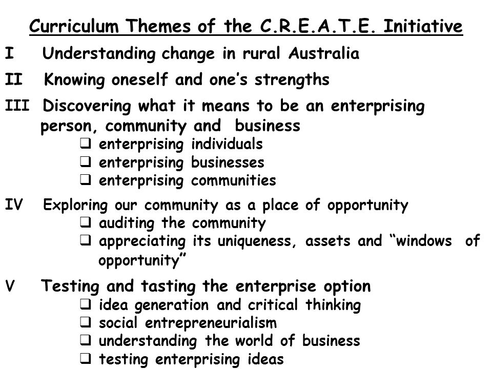 Curriculum Themes of the C.R.E.A.T.E.