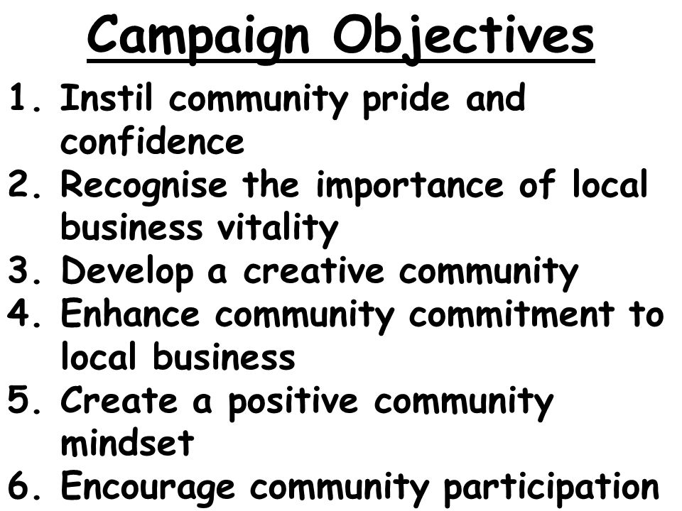 1.Instil community pride and confidence 2.Recognise the importance of local business vitality 3.Develop a creative community 4.Enhance community commitment to local business 5.Create a positive community mindset 6.Encourage community participation Campaign Objectives