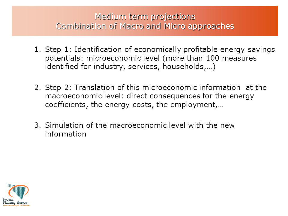 Federal Planning Bureau Economic analyses and forecasts Medium term projections Combination of Macro and Micro approaches 1.Step 1: Identification of economically profitable energy savings potentials: microeconomic level (more than 100 measures identified for industry, services, households,…) 2.Step 2: Translation of this microeconomic information at the macroeconomic level: direct consequences for the energy coefficients, the energy costs, the employment,… 3.Simulation of the macroeconomic level with the new information