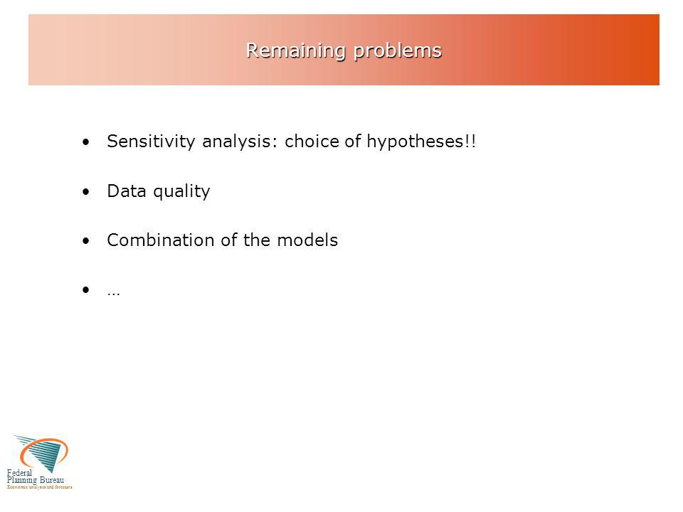 Federal Planning Bureau Economic analyses and forecasts Remaining problems Sensitivity analysis: choice of hypotheses!.