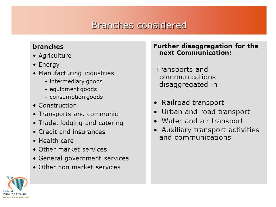 Federal Planning Bureau Economic analyses and forecasts Branches considered branches Agriculture Energy Manufacturing industries –intermediary goods –equipment goods –consumption goods Construction Transports and communic.