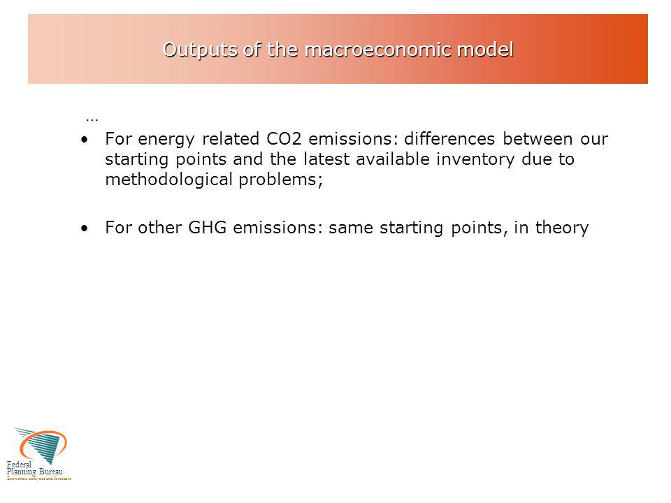 Federal Planning Bureau Economic analyses and forecasts Outputs of the macroeconomic model … For energy related CO2 emissions: differences between our starting points and the latest available inventory due to methodological problems; For other GHG emissions: same starting points, in theory