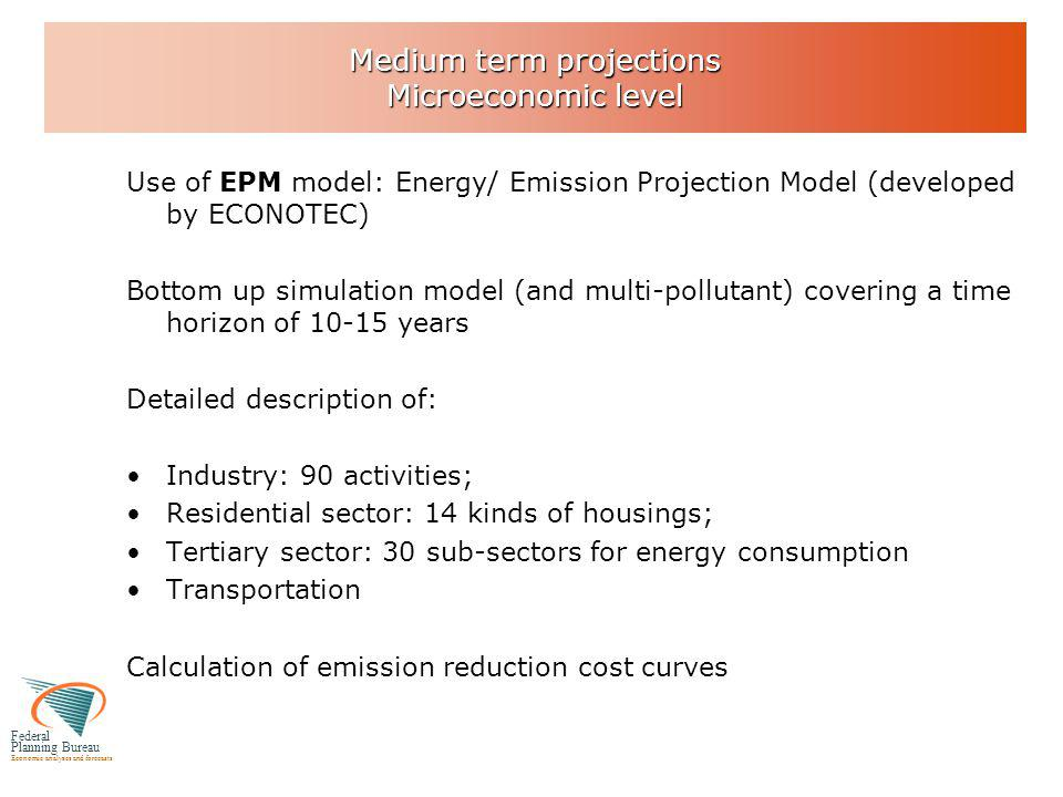 Federal Planning Bureau Economic analyses and forecasts Medium term projections Combination of Macro and Micro approaches 1.Step 1: Identification of economically profitable energy savings potentials: microeconomic level (more than 100 measures identified for industry, services, households,…)