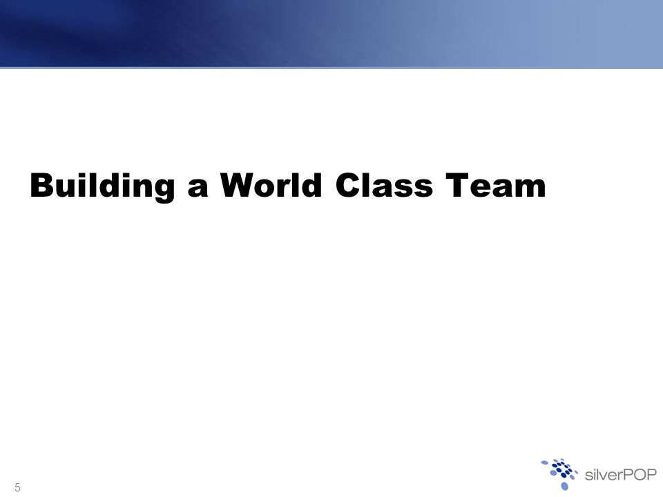 5 Building a World Class Team