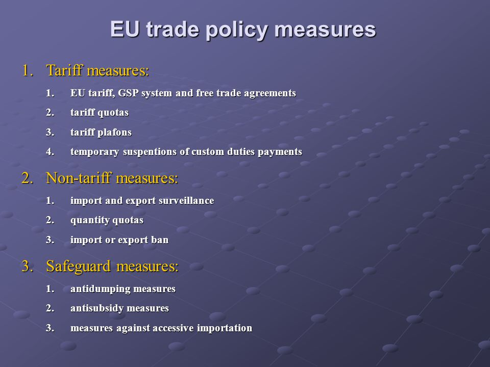 EU tariff duties As of 1st of January 2005, imported goods to Poland from third countries are subject to: EU duties on m.f.n.