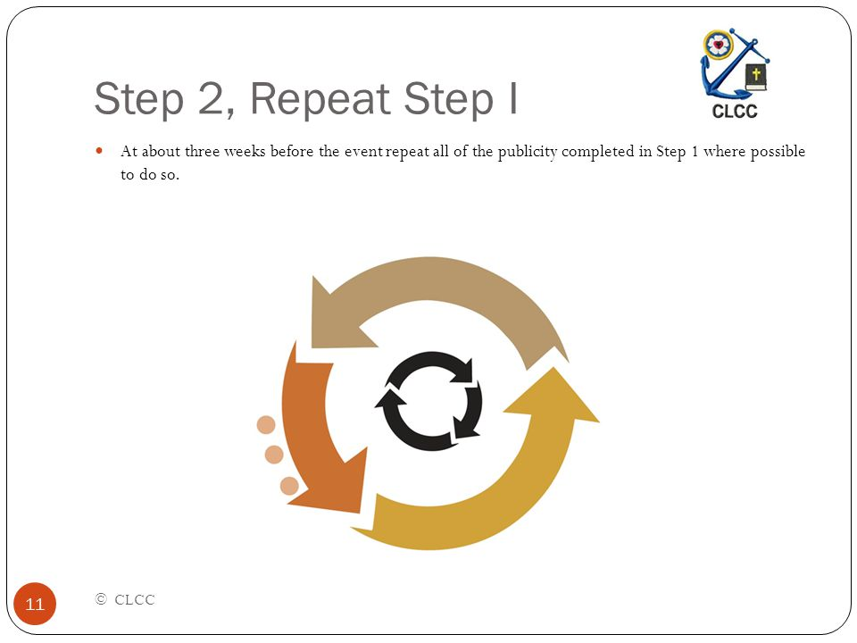Step 2, Repeat Step I © CLCC 11 At about three weeks before the event repeat all of the publicity completed in Step 1 where possible to do so.
