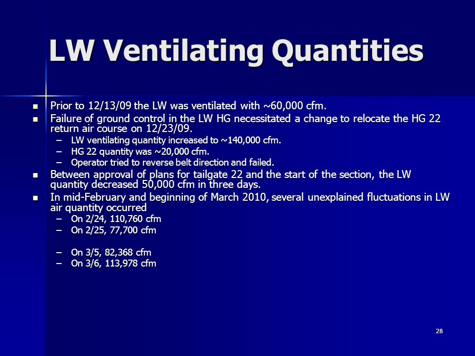 28 LW Ventilating Quantities Prior to 12/13/09 the LW was ventilated with ~60,000 cfm. Prior to 12/13/09 the LW was ventilated with ~60,000 cfm. Failu