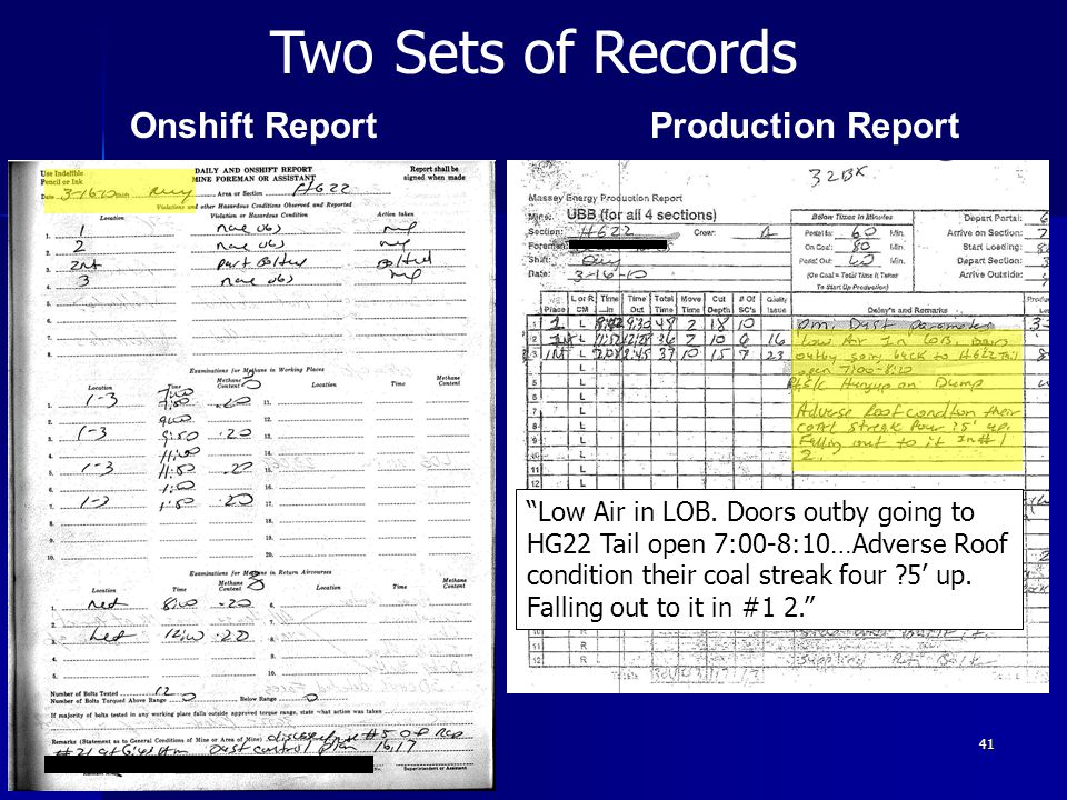 41 PRESHIFT REPORT Low Air in LOB. Doors outby going to HG22 Tail open 7:00-8:10…Adverse Roof condition their coal streak four ?5 up. Falling out to i