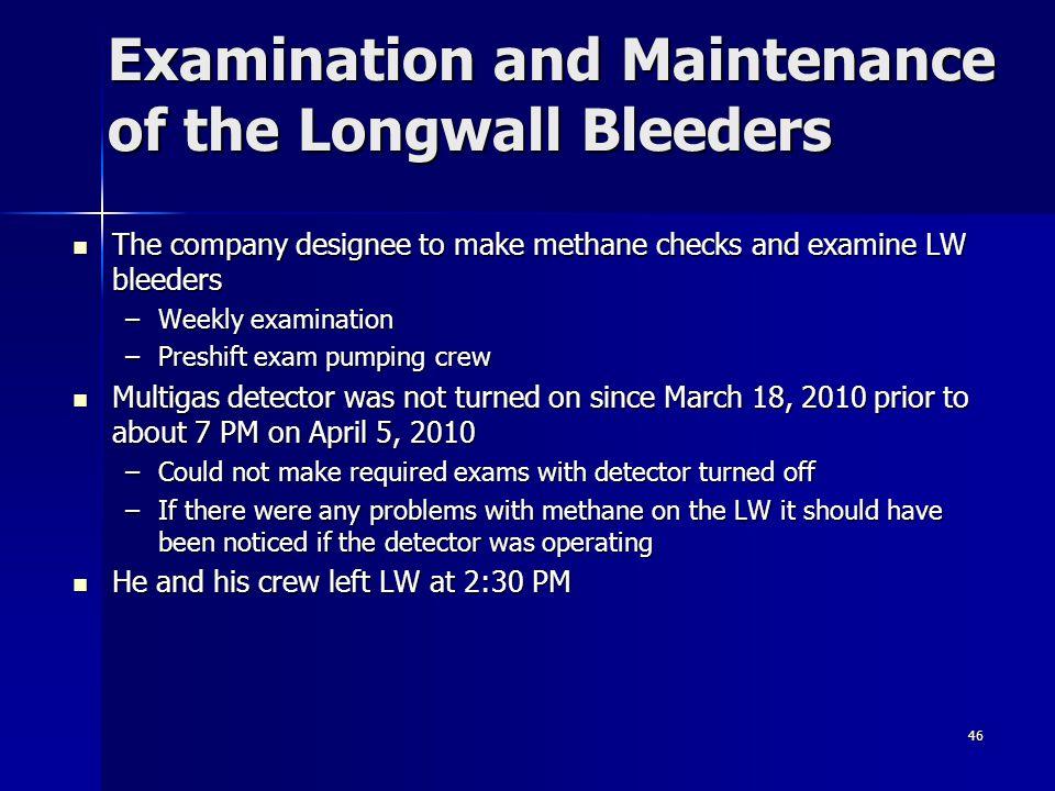 46 Examination and Maintenance of the Longwall Bleeders The company designee to make methane checks and examine LW bleeders The company designee to ma