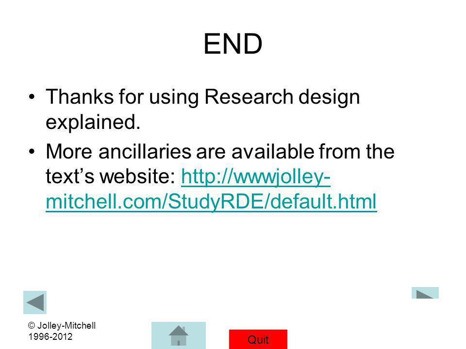 Quit © Jolley-Mitchell 1996-2012 END Thanks for using Research design explained. More ancillaries are available from the texts website: http://wwwjoll