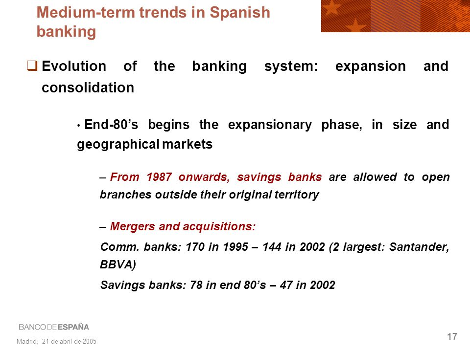 Madrid, 21 de abril de 2005 17 Evolution of the banking system: expansion and consolidation End-80s begins the expansionary phase, in size and geograp