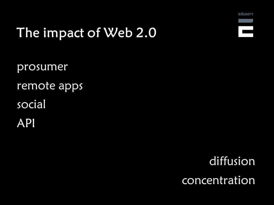 The impact of Web 2.0 prosumer remote apps social API diffusion concentration