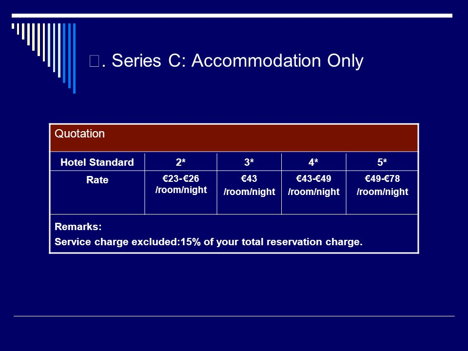 Series C: Accommodation Only Quotation Remarks: Service charge excluded:15% of your total reservation charge.