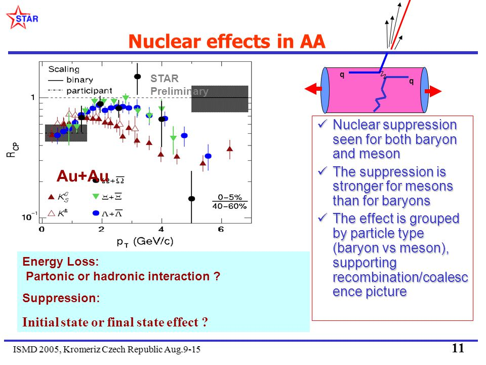 ISMD 2005, Kromeriz Czech Republic Aug.9-15 11 Nuclear effects in AA Nuclear suppression seen for both baryon and meson Nuclear suppression seen for b