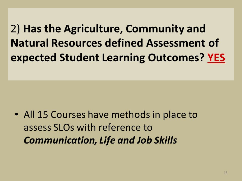 2) Has the Agriculture, Community and Natural Resources defined Assessment of expected Student Learning Outcomes? YES All 15 Courses have methods in p