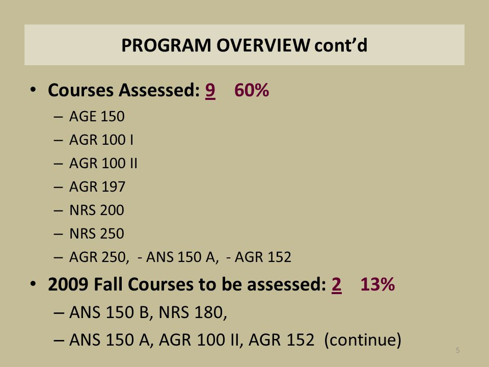 Courses Assessed: 9 60% – AGE 150 – AGR 100 I – AGR 100 II – AGR 197 – NRS 200 – NRS 250 – AGR 250, - ANS 150 A, - AGR 152 2009 Fall Courses to be ass