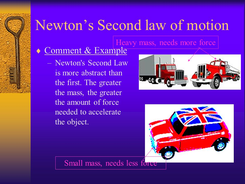 Newtons Second law of motion shortened => ΣF = ma –where f is a push or pull that gives energy to an object the motion of the object. a is the rate of