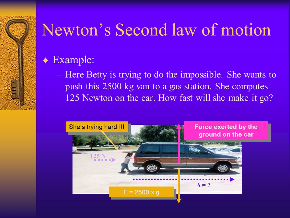 Newtons Second law of motion Comments & Examples Betty has not really move that much consider she has only exerted 30 Newton of force. ( F=MA, so you