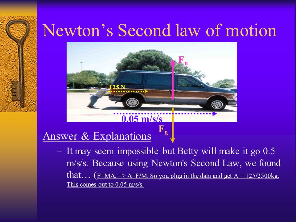 Newtons Second law of motion Example: –Here Betty is trying to do the impossible. She wants to push this 2500 kg van to a gas station. She computes 12