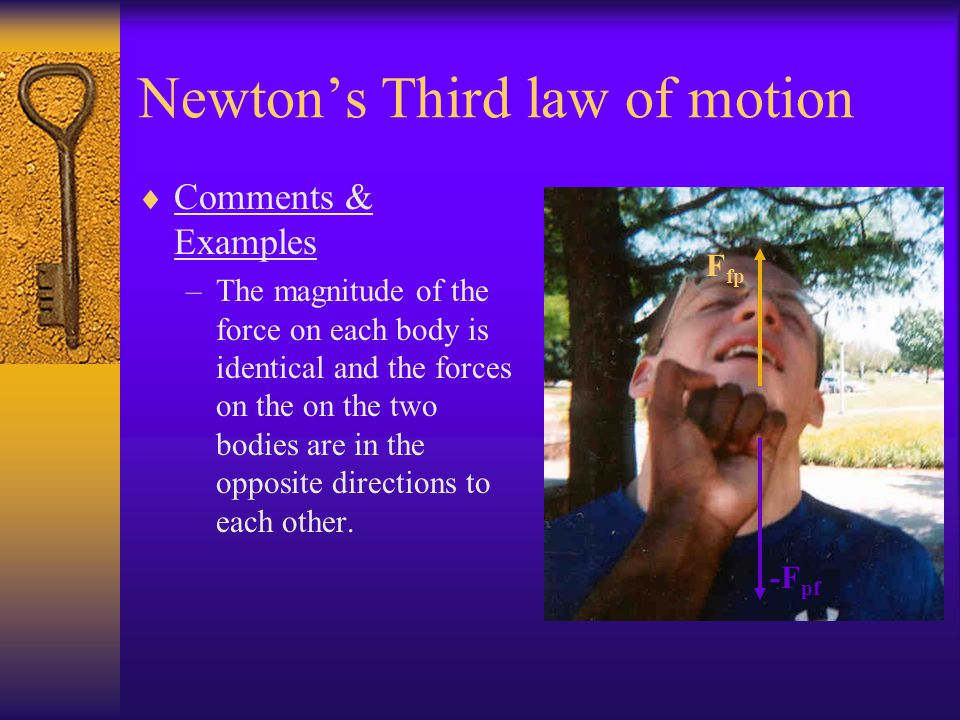 Newtons Third law of motion Comments & Examples: –When you punch someone in his face your hand not only applies a force to the person's face, the pers