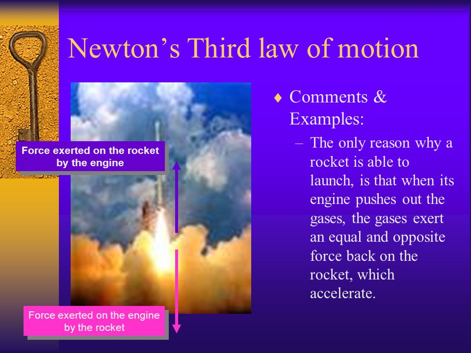Newtons Third law of motion Comments & Examples –The magnitude of the force on each body is identical and the forces on the on the two bodies are in t