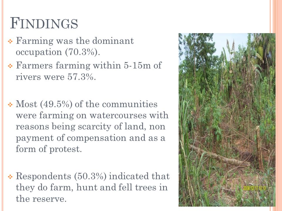 F INDINGS Farming was the dominant occupation (70.3%).