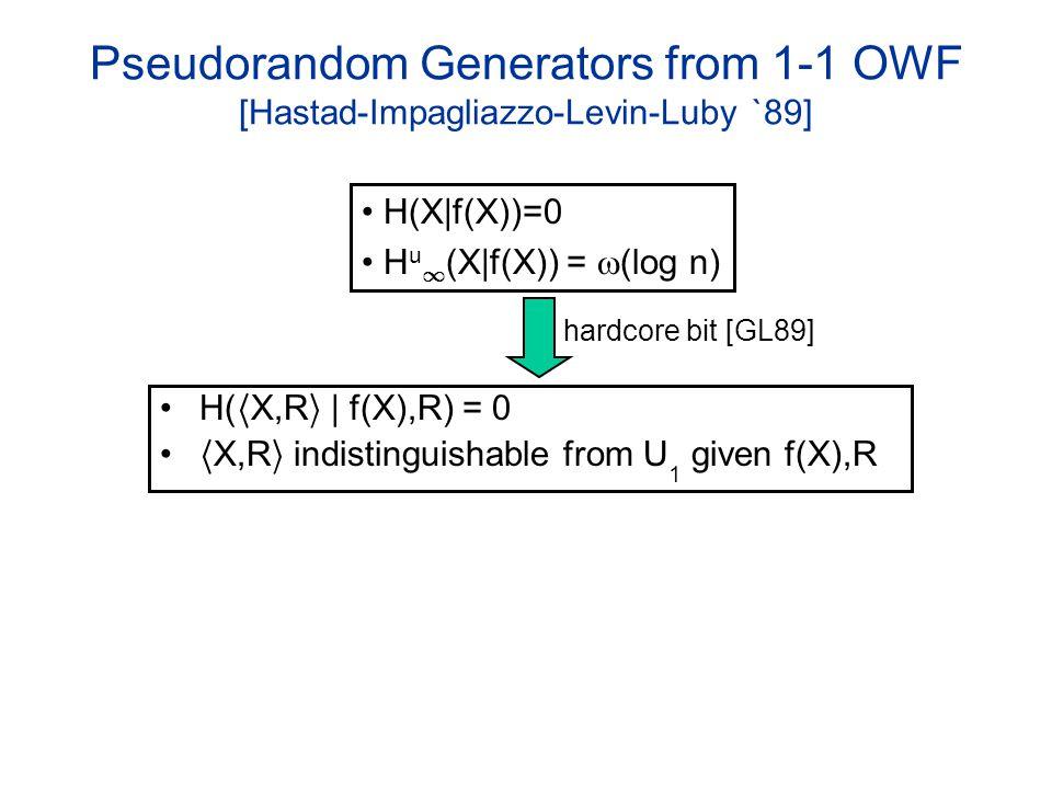 Pseudorandom Generators from 1-1 OWF [Hastad-Impagliazzo-Levin-Luby `89] H( h X,R i | f(X),R) = 0 h X,R i indistinguishable from U 1 given f(X),R H(X|f(X))=0 H u 1 (X|f(X)) = (log n) hardcore bit [GL89]