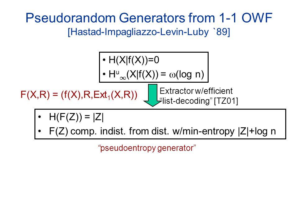 Pseudorandom Generators from 1-1 OWF [Hastad-Impagliazzo-Levin-Luby `89] H(F(Z)) = |Z| F(Z) comp.