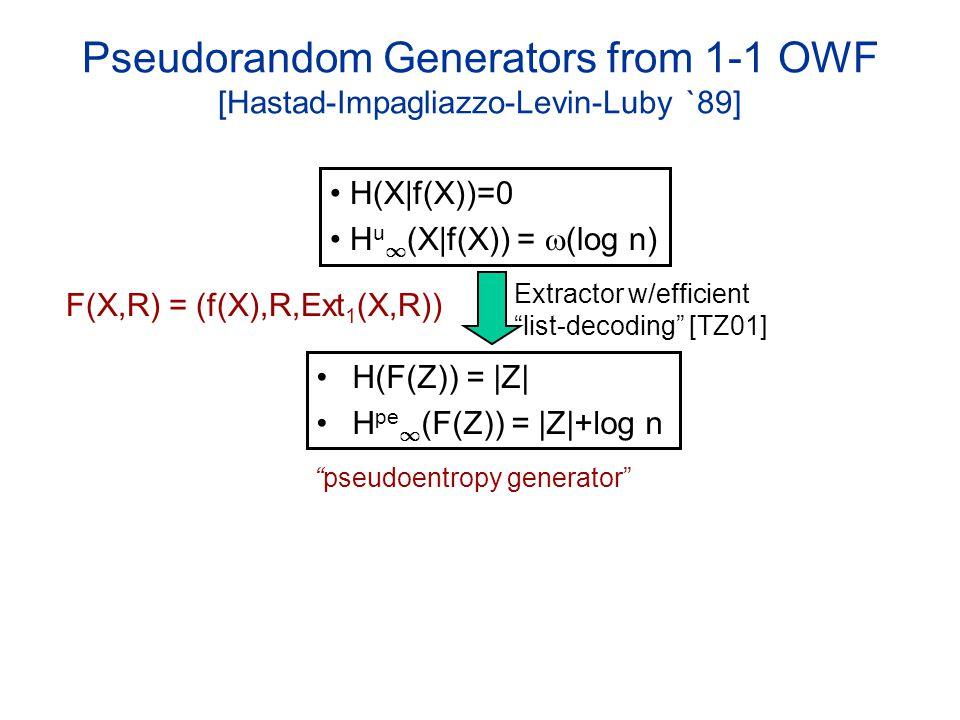 Pseudorandom Generators from 1-1 OWF [Hastad-Impagliazzo-Levin-Luby `89] H(F(Z)) = |Z| H pe 1 (F(Z)) = |Z|+log n Extractor w/efficient list-decoding [TZ01] H(X|f(X))=0 H u 1 (X|f(X)) = (log n) F(X,R) = (f(X),R,Ext 1 (X,R)) pseudoentropy generator