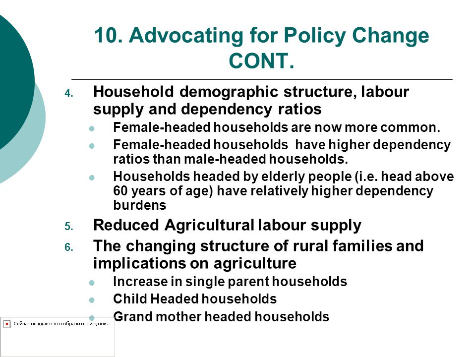 10. Advocating for Policy Change CONT. 4.