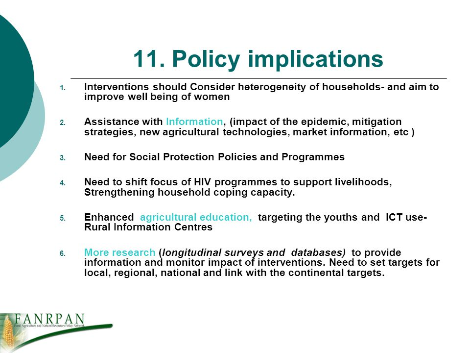11. Policy implications 1.