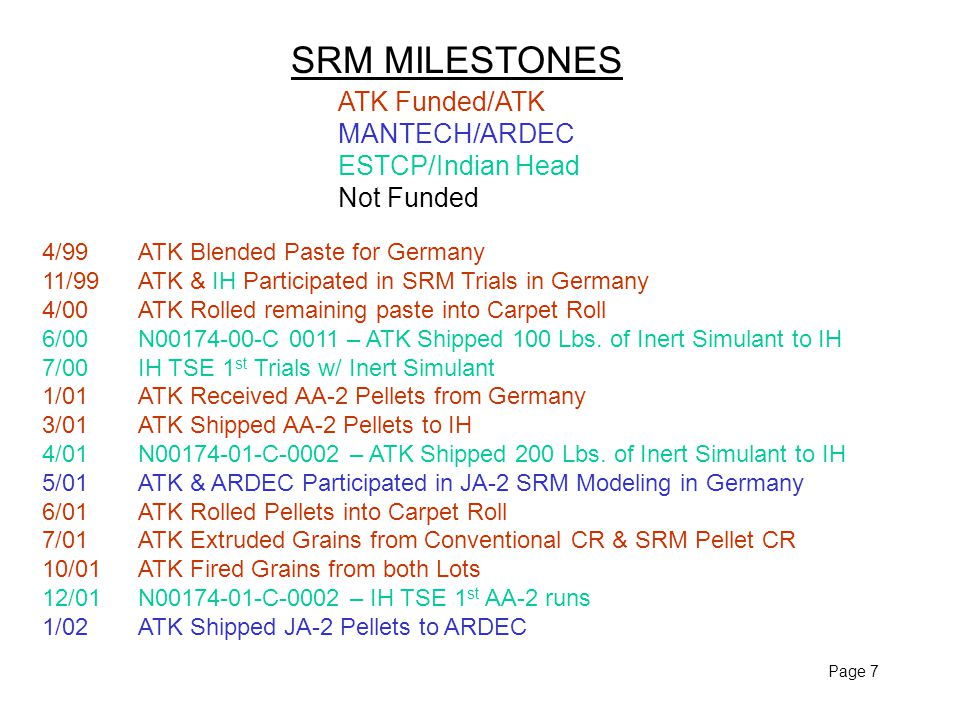 Page 7 SRM MILESTONES ATK Funded/ATK MANTECH/ARDEC ESTCP/Indian Head Not Funded 4/99ATK Blended Paste for Germany 11/99ATK & IH Participated in SRM Trials in Germany 4/00ATK Rolled remaining paste into Carpet Roll 6/00N00174-00-C 0011 – ATK Shipped 100 Lbs.