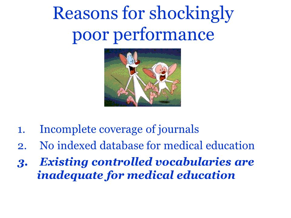 Reasons for shockingly poor performance 1. Incomplete coverage of journals 2.