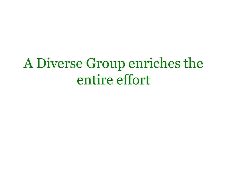 A Diverse Group enriches the entire effort