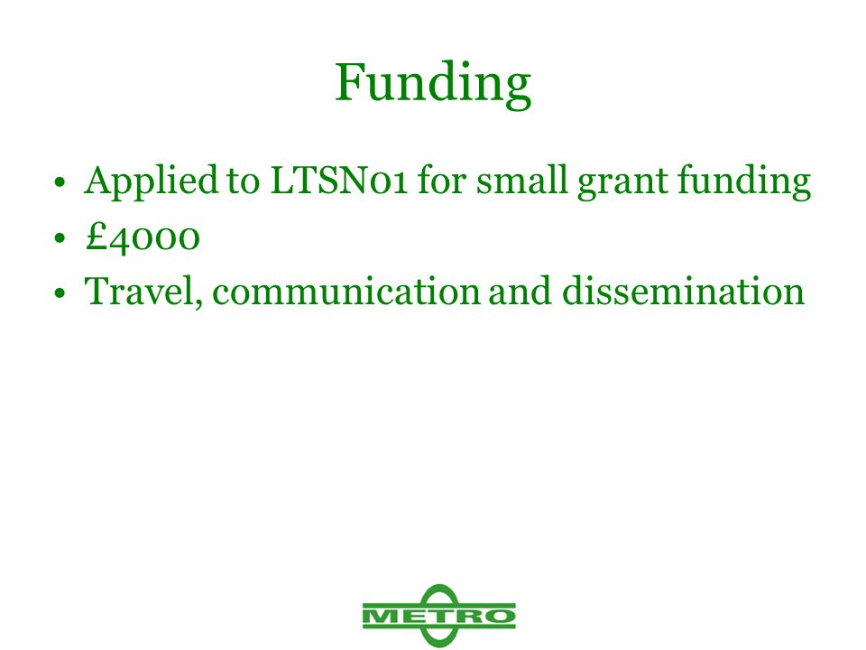 Funding Applied to LTSN01 for small grant funding £4000 Travel, communication and dissemination