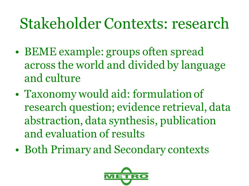 Stakeholder Contexts: research BEME example: groups often spread across the world and divided by language and culture Taxonomy would aid: formulation of research question; evidence retrieval, data abstraction, data synthesis, publication and evaluation of results Both Primary and Secondary contexts