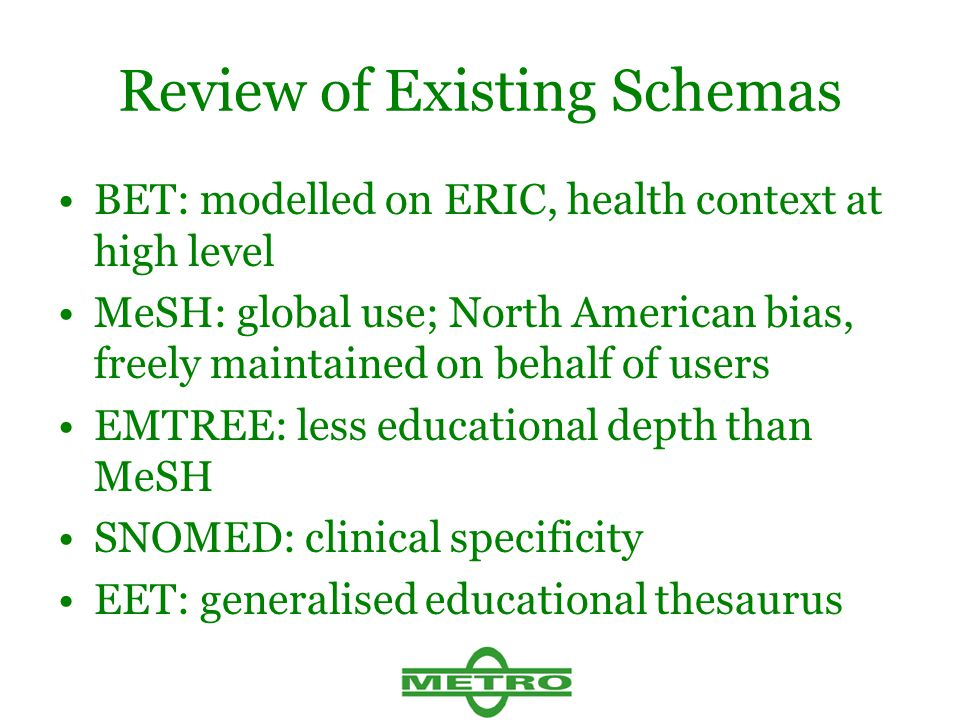 Review of Existing Schemas BET: modelled on ERIC, health context at high level MeSH: global use; North American bias, freely maintained on behalf of users EMTREE: less educational depth than MeSH SNOMED: clinical specificity EET: generalised educational thesaurus